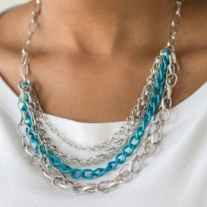 Bold Blue Chains Necklace Earring Set NWT
